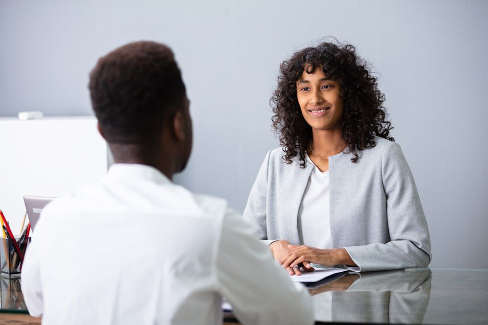 Professional woman interviews for a marketing position