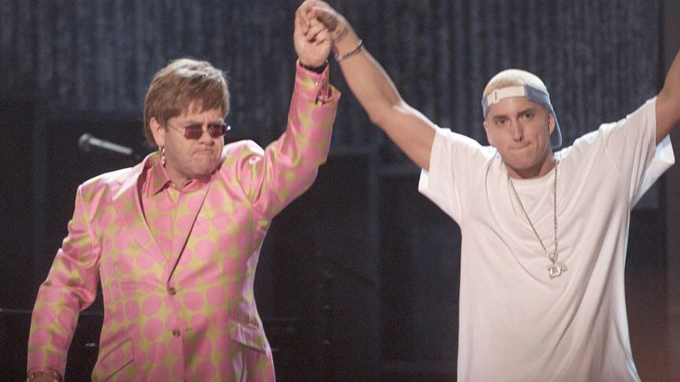 Elton John and Eminem at GRAMMY Awards in 2001.