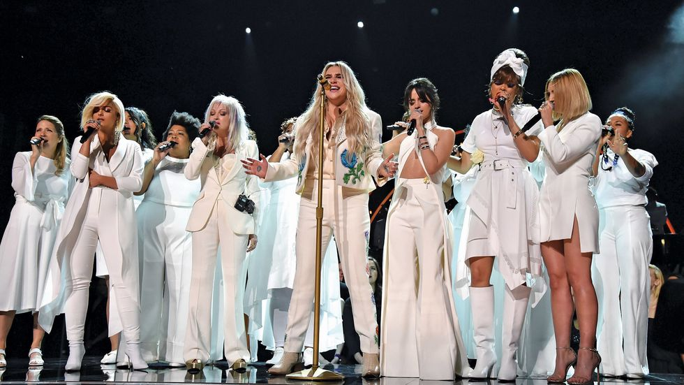 Kesha, Cyndi Lauper, Andra Day, Camila Cabello, Julia Michaels, and Bebe Rexha at the GRAMMY Awards in 2018.