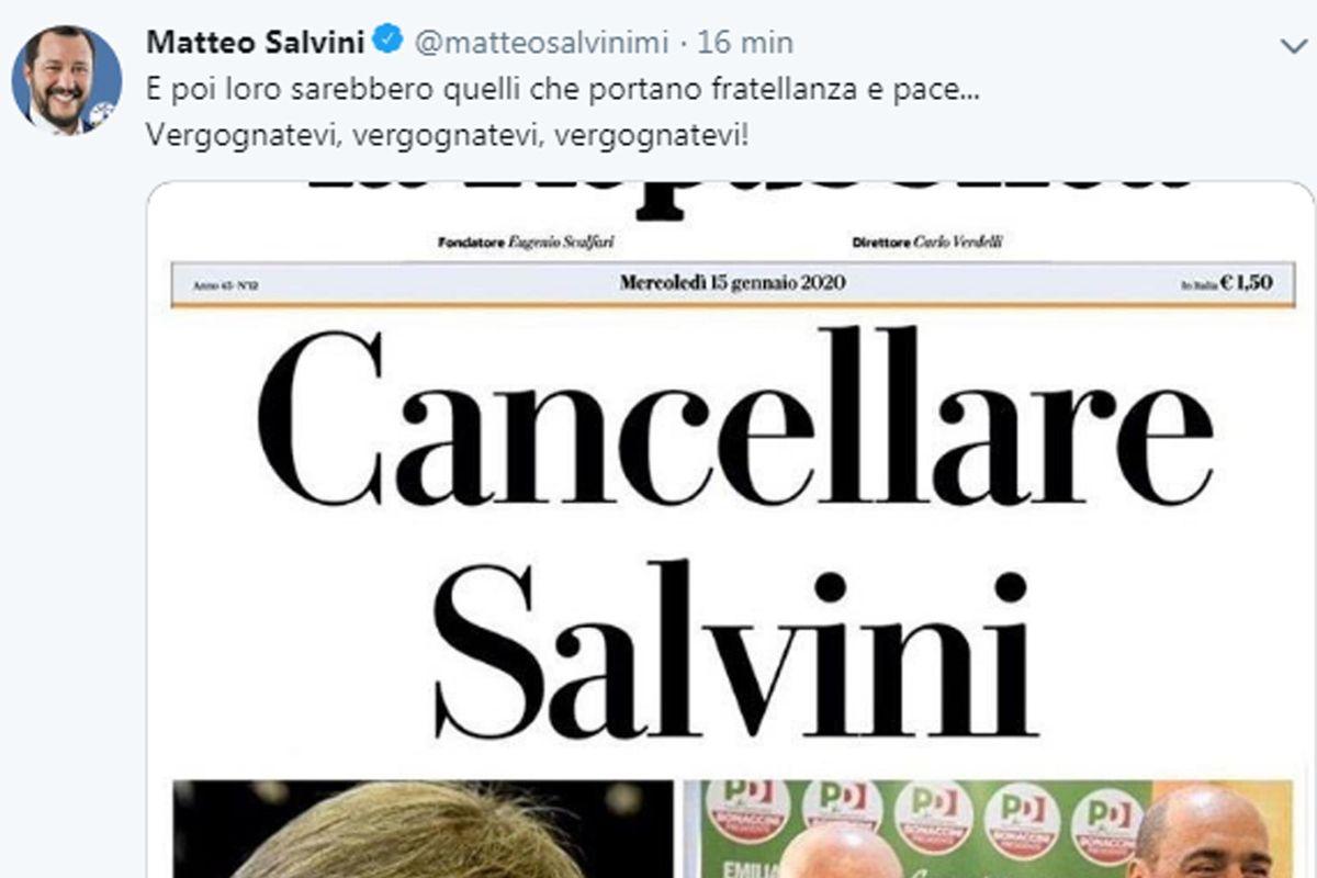 «Repubblica» svela il suo odio: Salvini va cancellato