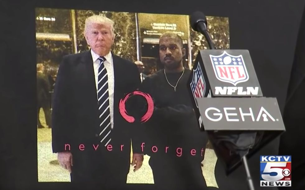 Kansas City Chiefs player wears  image of Trump meeting Kanye West during Super Bowl press conference