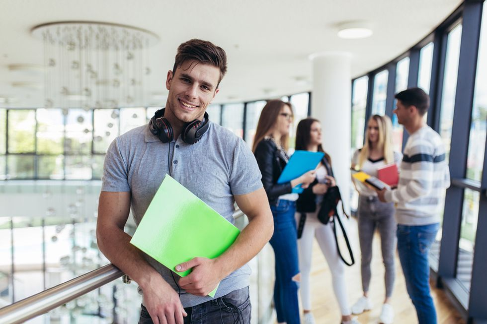 College student happy with his school of choice