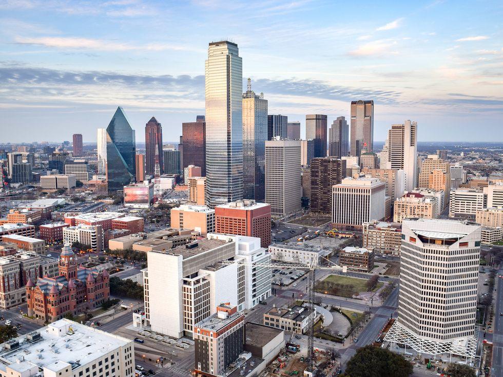 Aerial View Of Modern Buildings In City Against Sky
