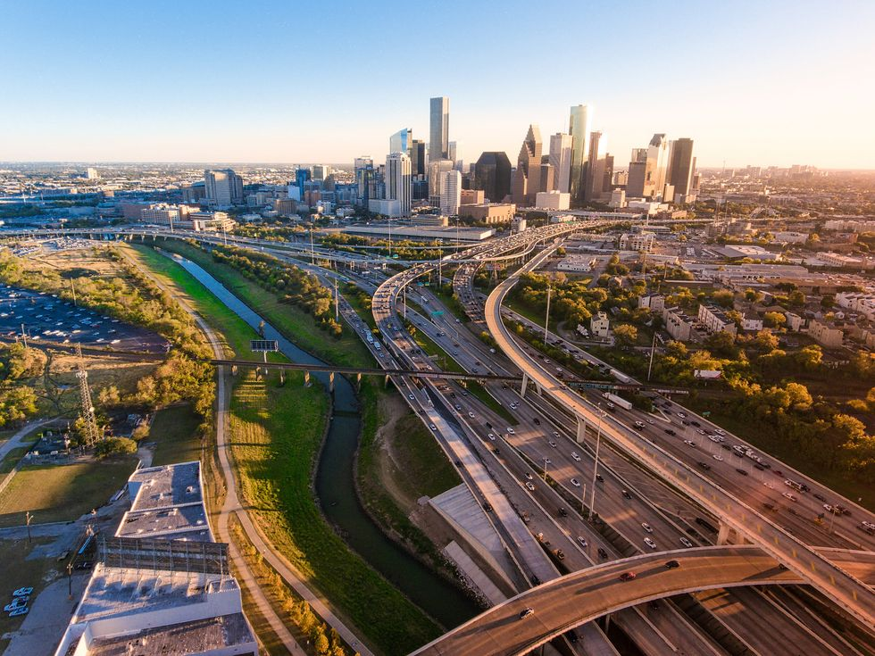 High Angle View Of Highways In City Houston