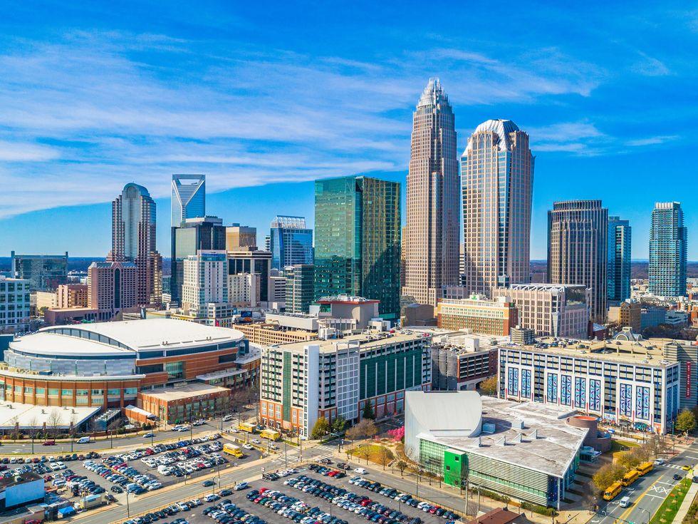 Aerial of Downtown Charlotte, North Carolina, USA
