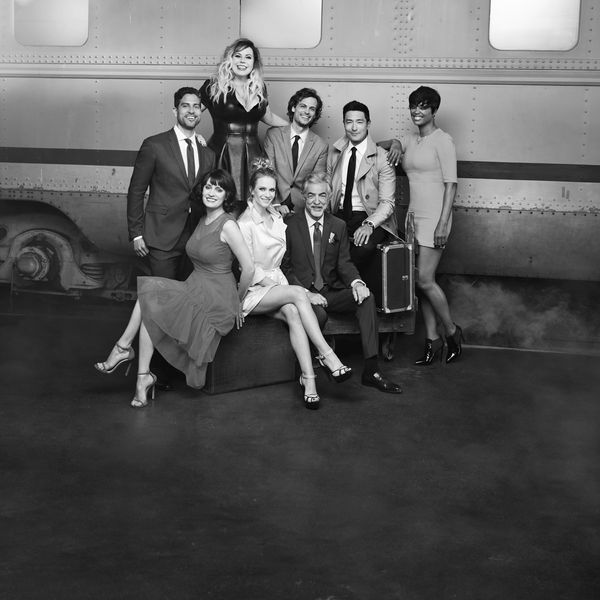 Black and white photo of the cast of Criminal Minds on a glam photo shoot.