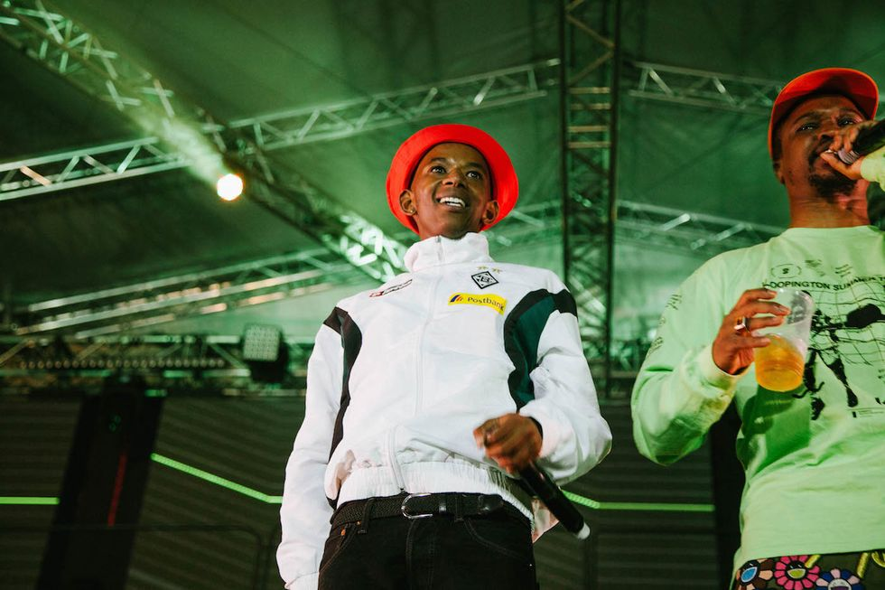 Maglera Doe Boy and one of the hosts for the main stage Scoop Makhathini. Photo by Sabelo Mkhabela.