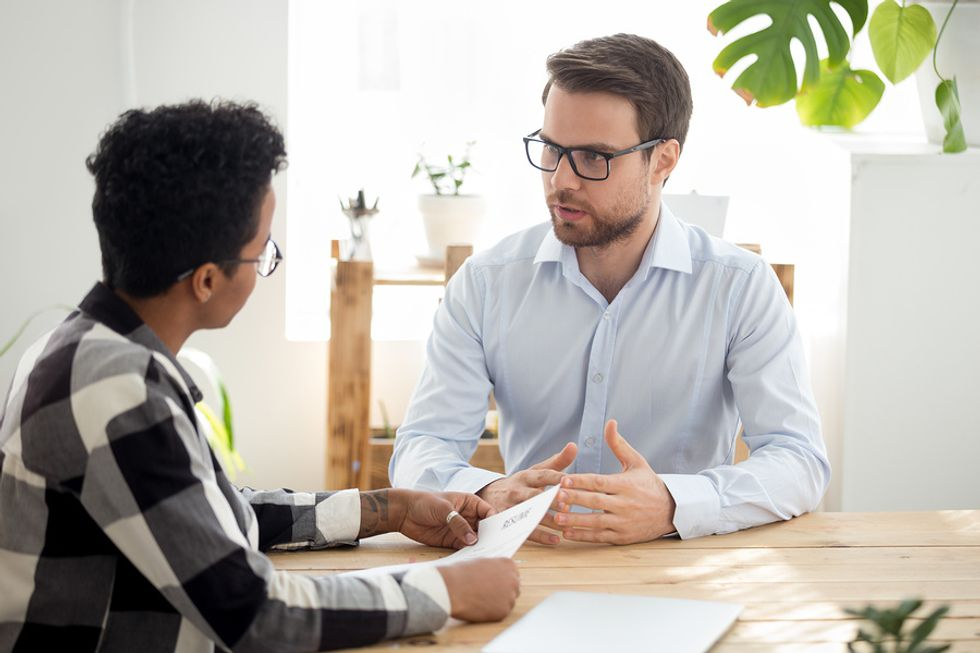 Job candidate tells the hiring manager about a time he went above and beyond at work