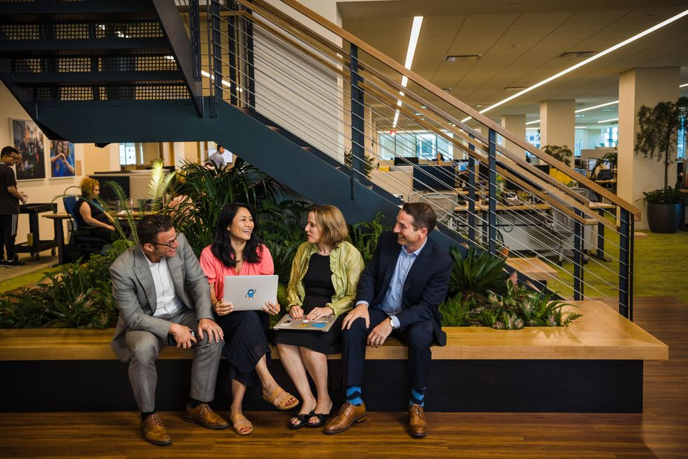 Salesforce employees collaborate at the company's New York office.