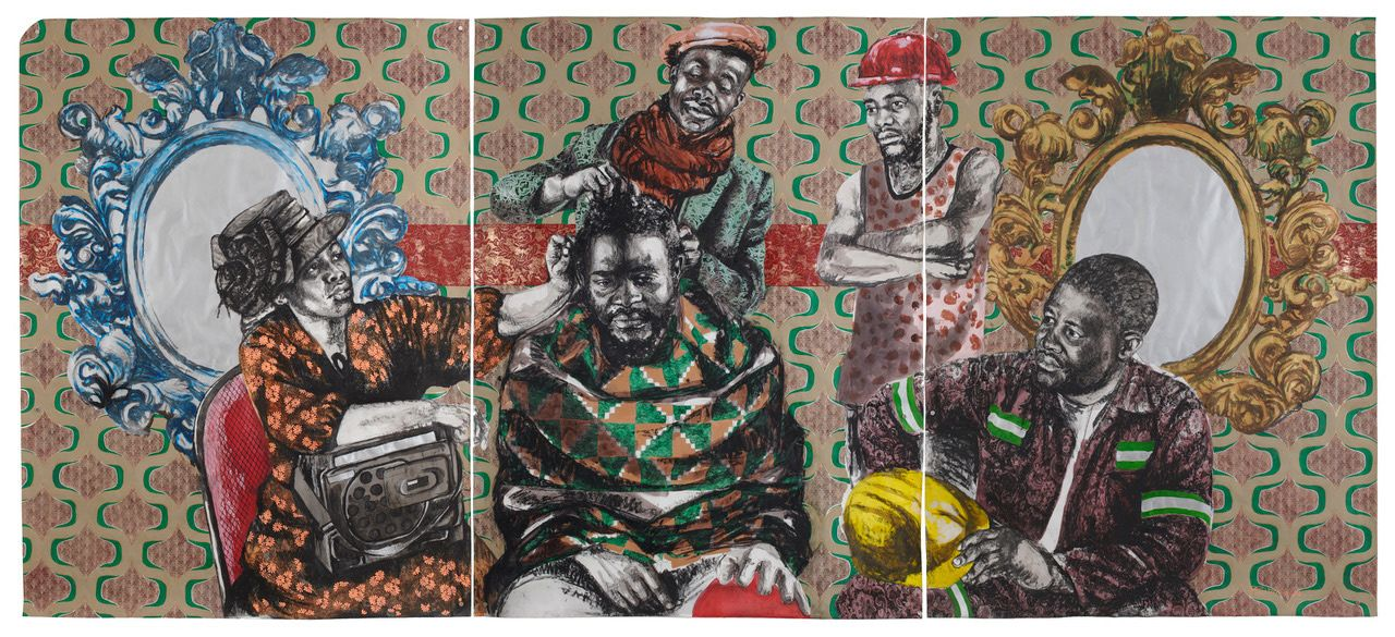 Acrylic and charcoal on paper artwork by artist Bambo Sibiya.