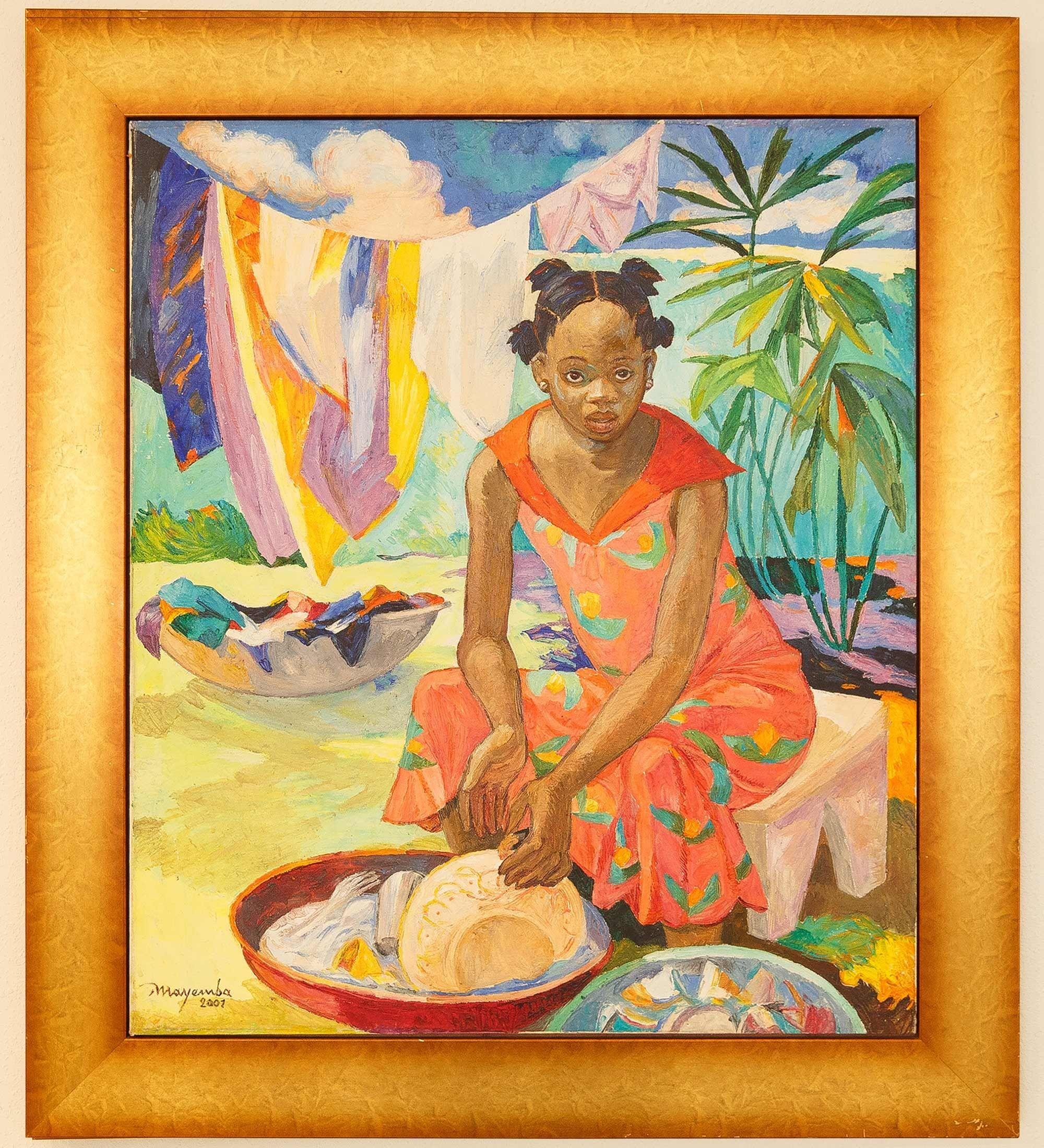 Painting of a woman doing laundry by Congolese artist Mayemba.