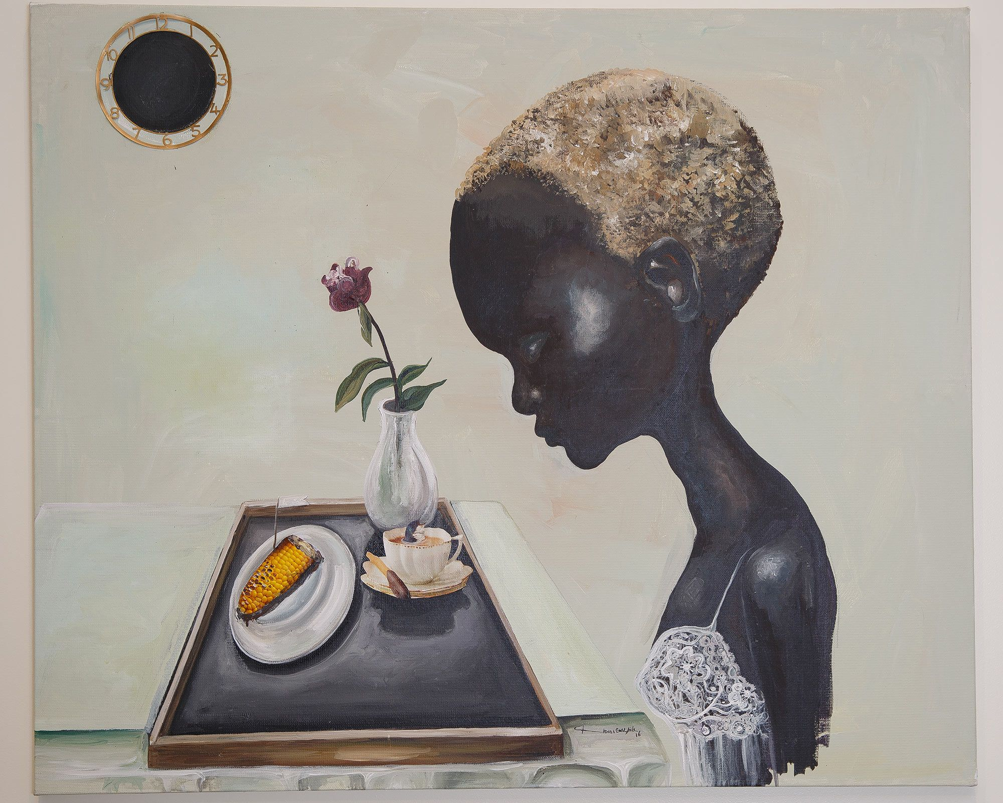 Painting of woman staring at a tray of coffee and half a corncob.