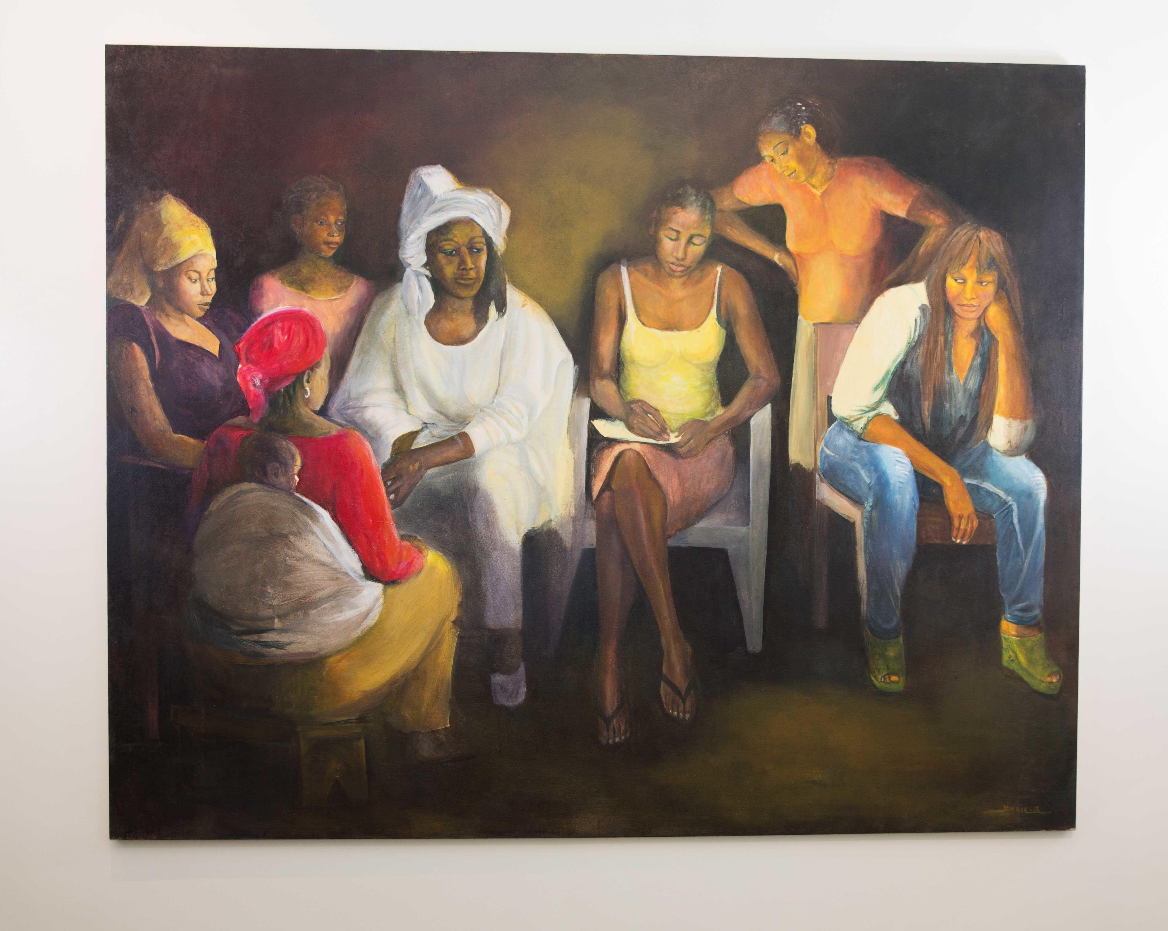 Painting of black women by artist Mouhamadou Dia. \u200b