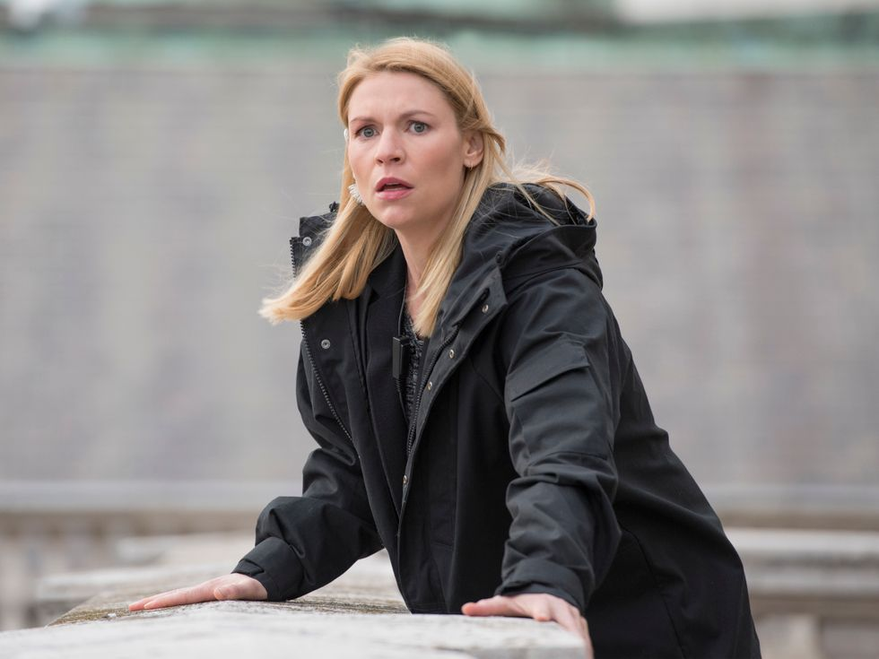 Claire Danes in a black jacket.