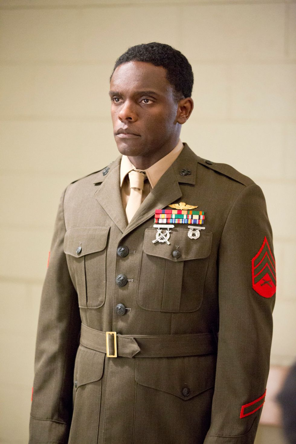 Chris Chalk in military uniform.