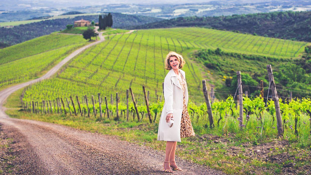 Christine Baranski in the Tuscan countryside.