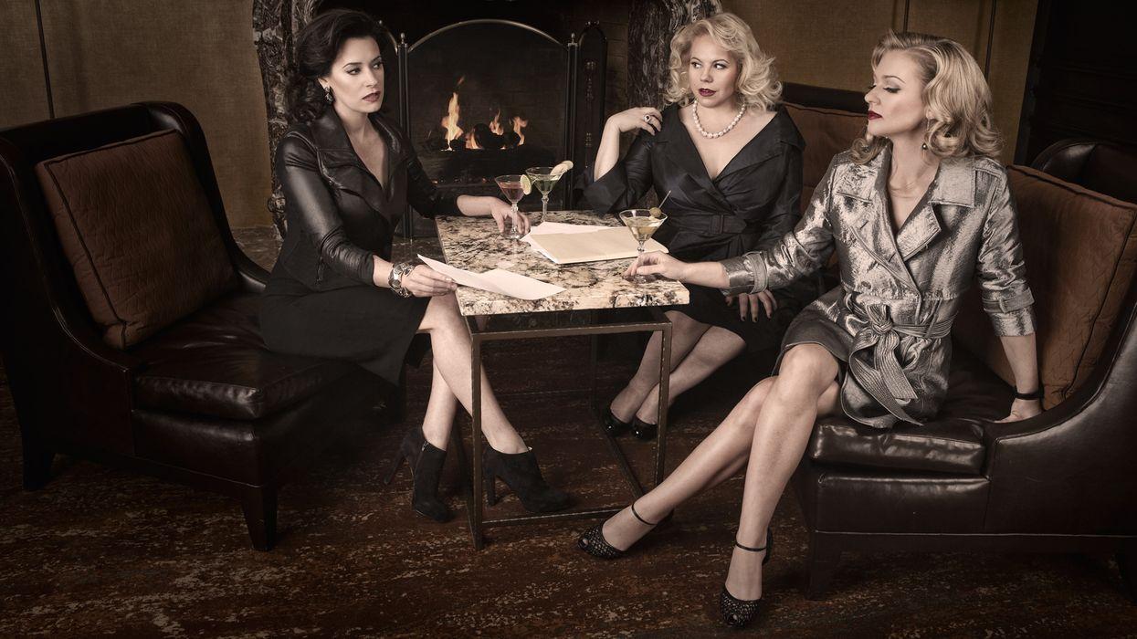 Paget Brewster, Kirsten Vangsness, and A.J. Cook enjoying martinis.
