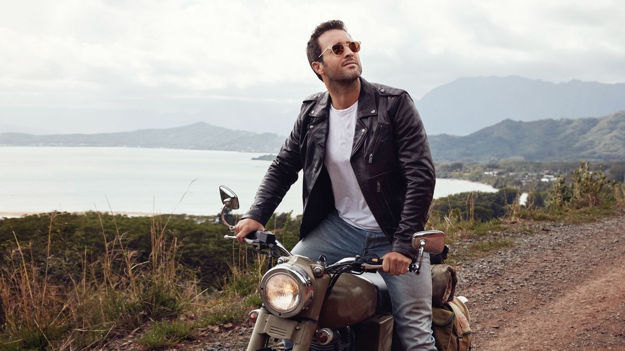 Alex O'Loughlin on a motorcycle.