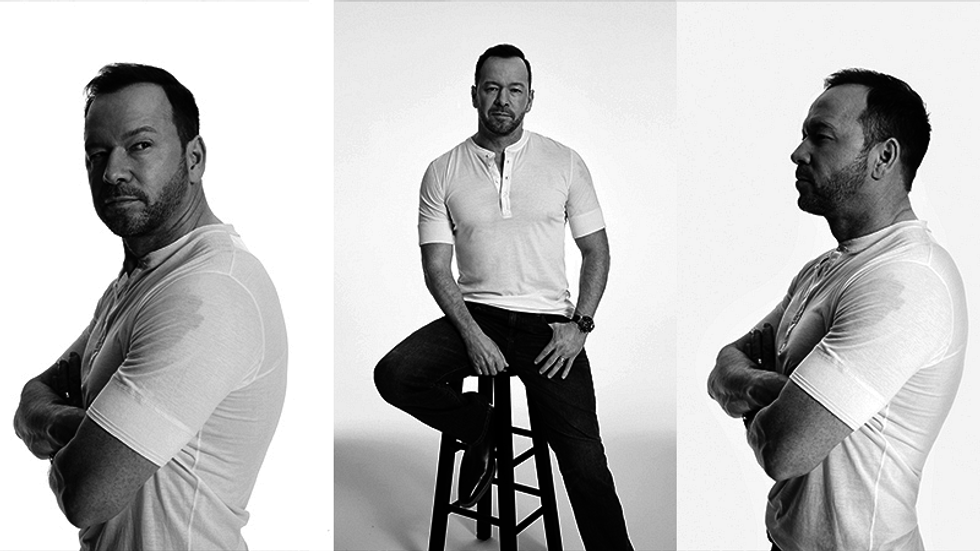 Three black and white images of Donnie Wahlberg