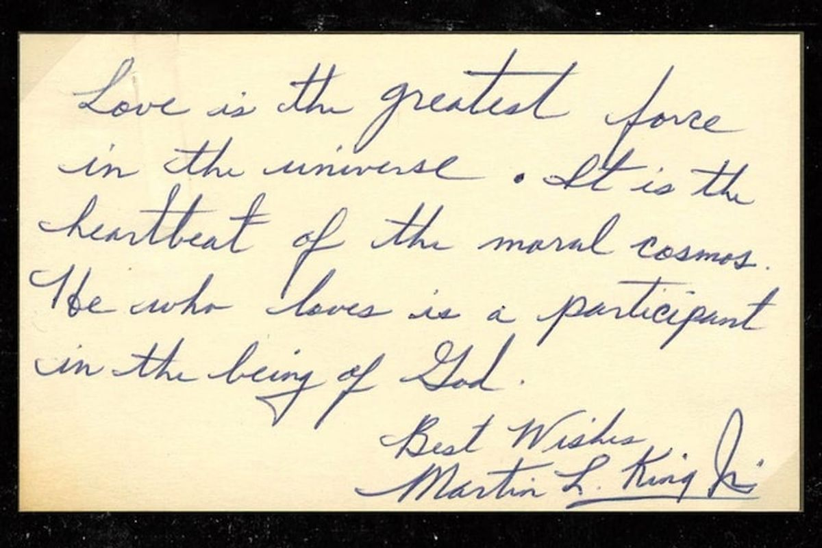 A handwritten note from Martin Luther King, Jr. on the meaning of love was just discovered