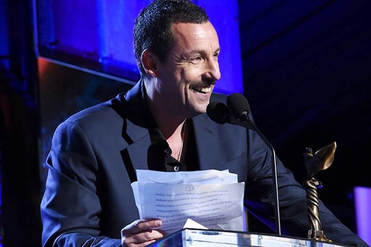 Adam Sandler threw some glorious shade at the Oscars in a side-splitting acceptance speech