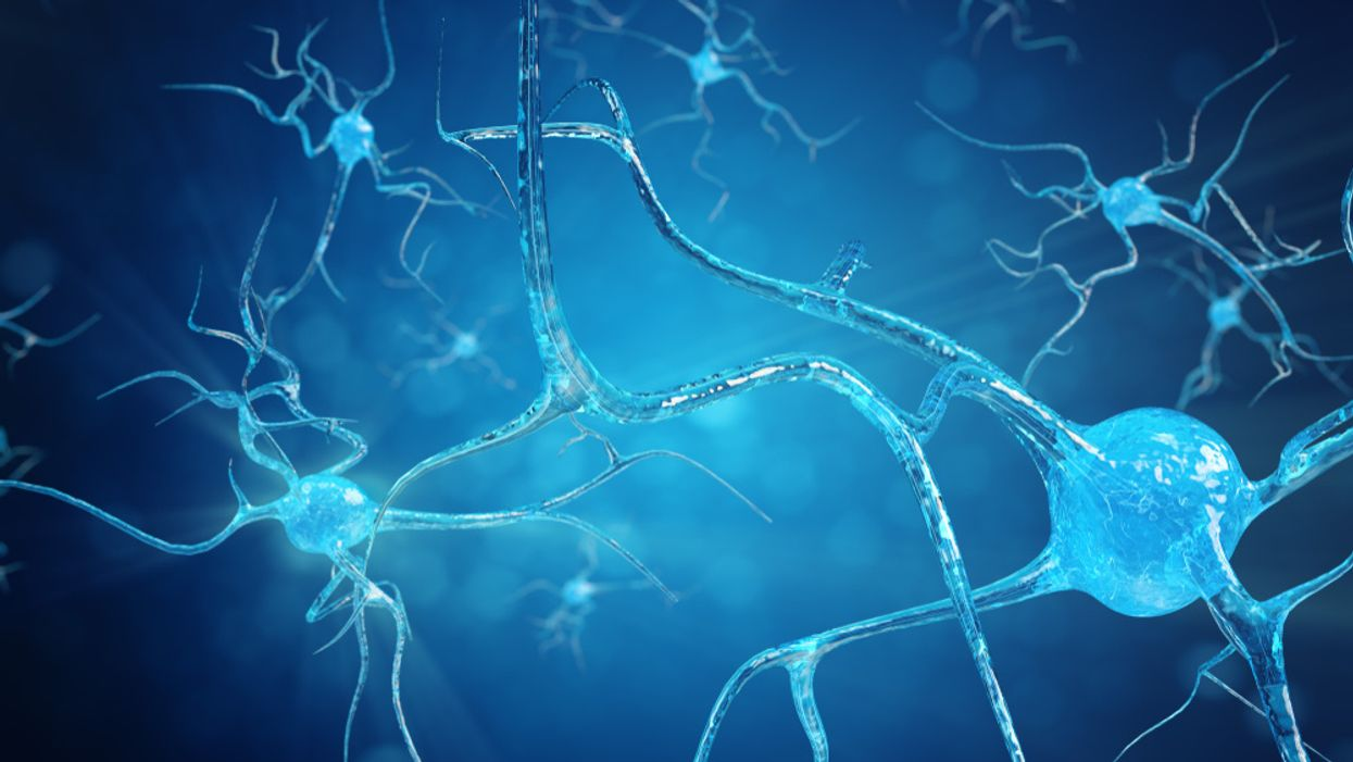 Conceptual illustration of neuron cells with glowing link knots neurogenesis fatherhood