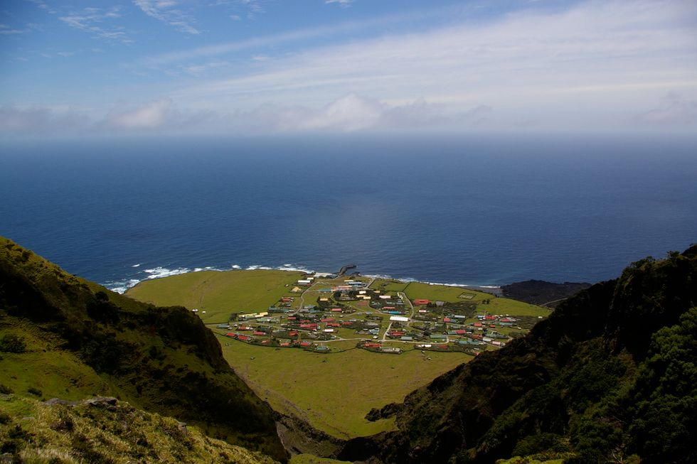 Bird's eye view on Edinburgh-of-the-seven-seas, the capital of Tristan da Cunha.