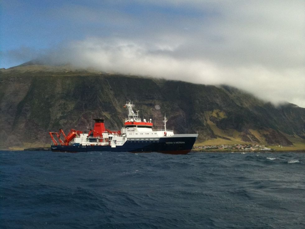 German research vessel Maria S. Merian, just off Edinburgh of the Seven Seas.\u200b