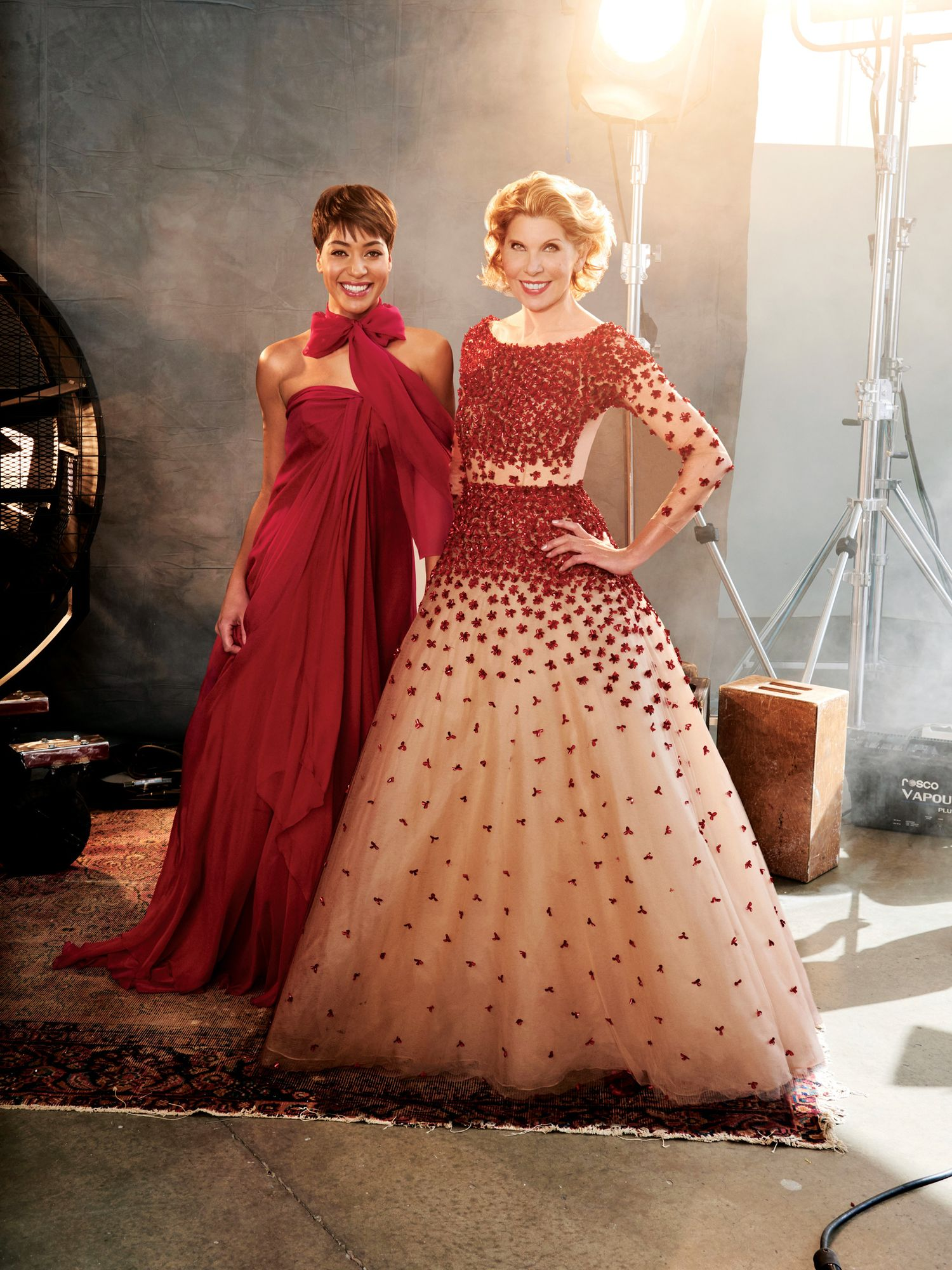 Cush Jumbo and Christine Baranski in red ball gowns.