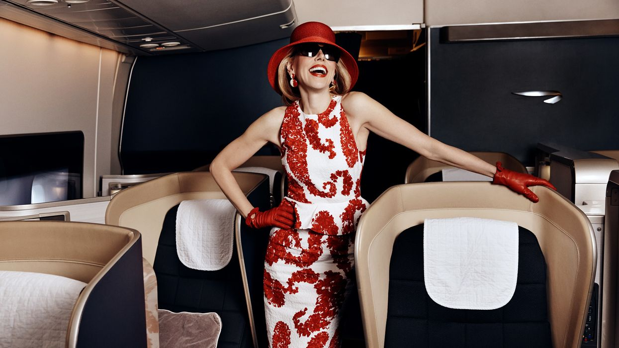 Christine Baranski of The Good Fight in red and white dress with red hat and gloves