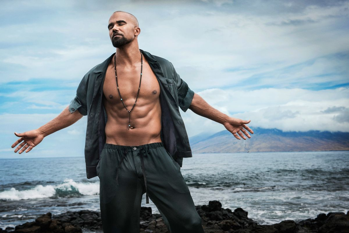 Shemar Moore of SWAT in silk pajamas with open shirt