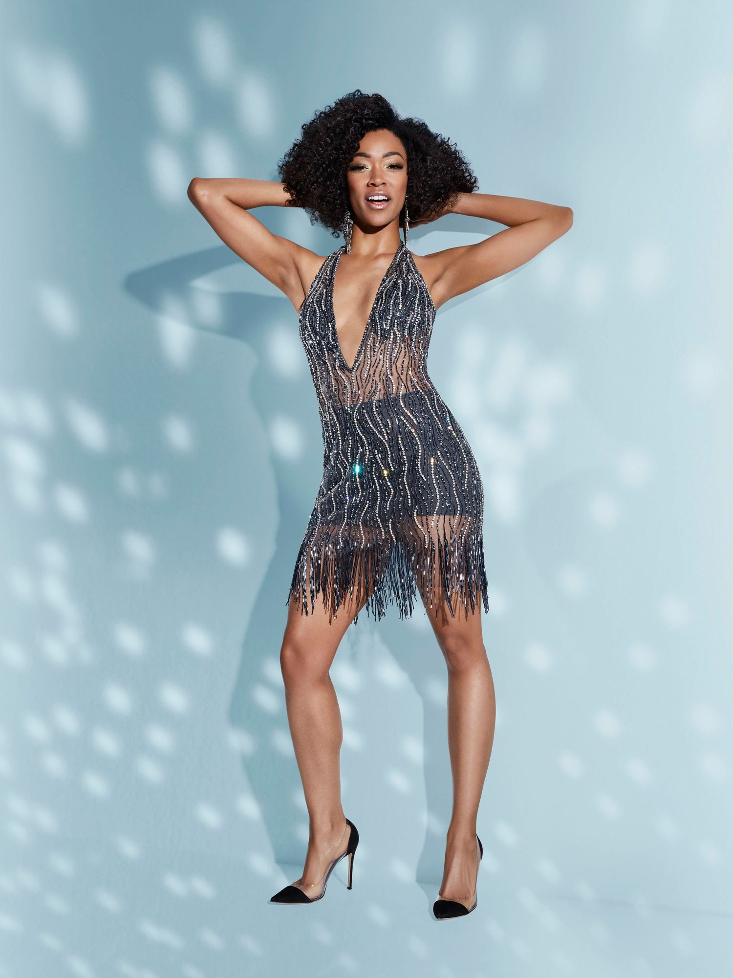 Sonequa Martin Green of Star Trek Discovery in sheer slate beaded dress