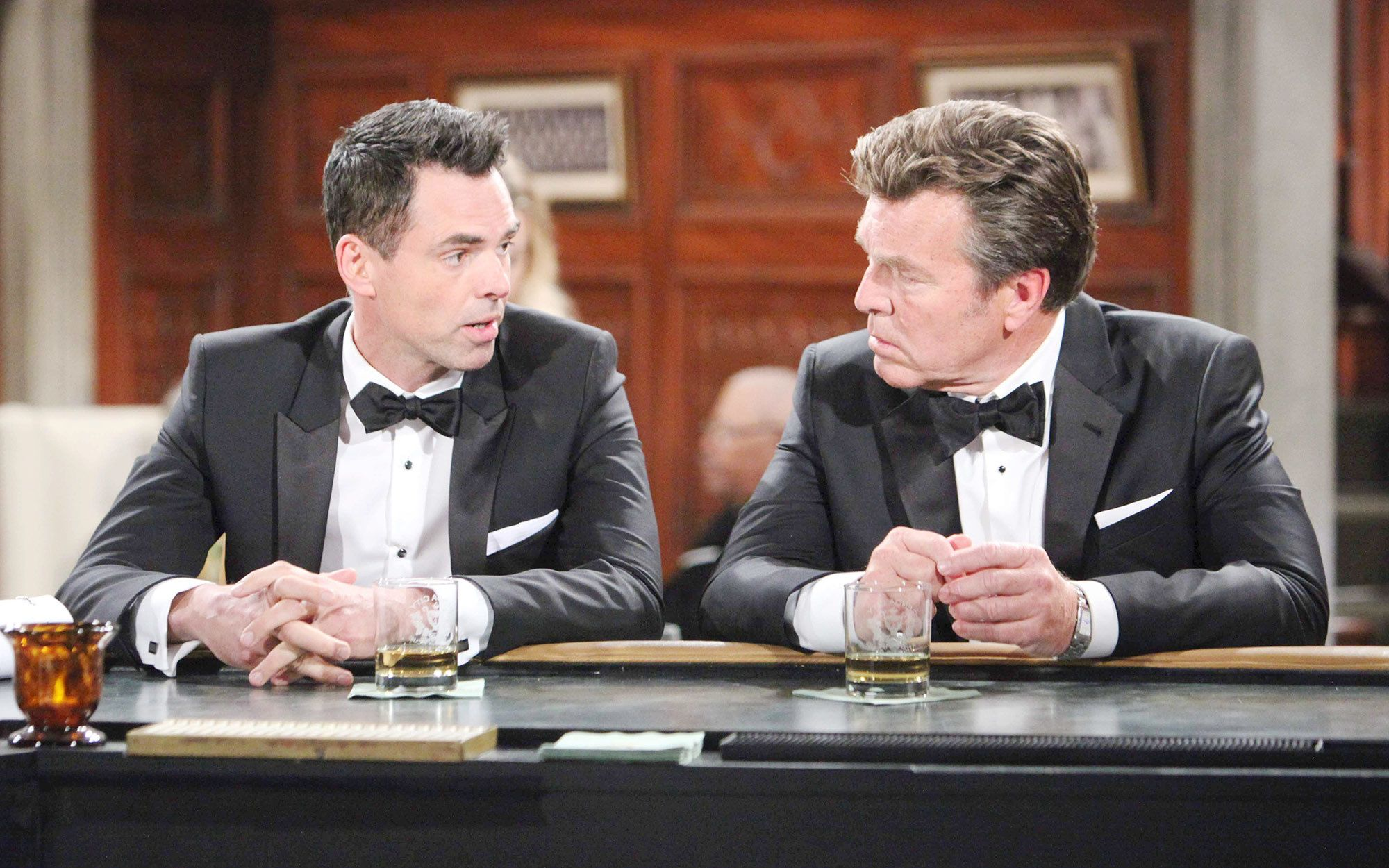 Jason Thompson and Peter Bergman on the set of The Young and the Restless.
