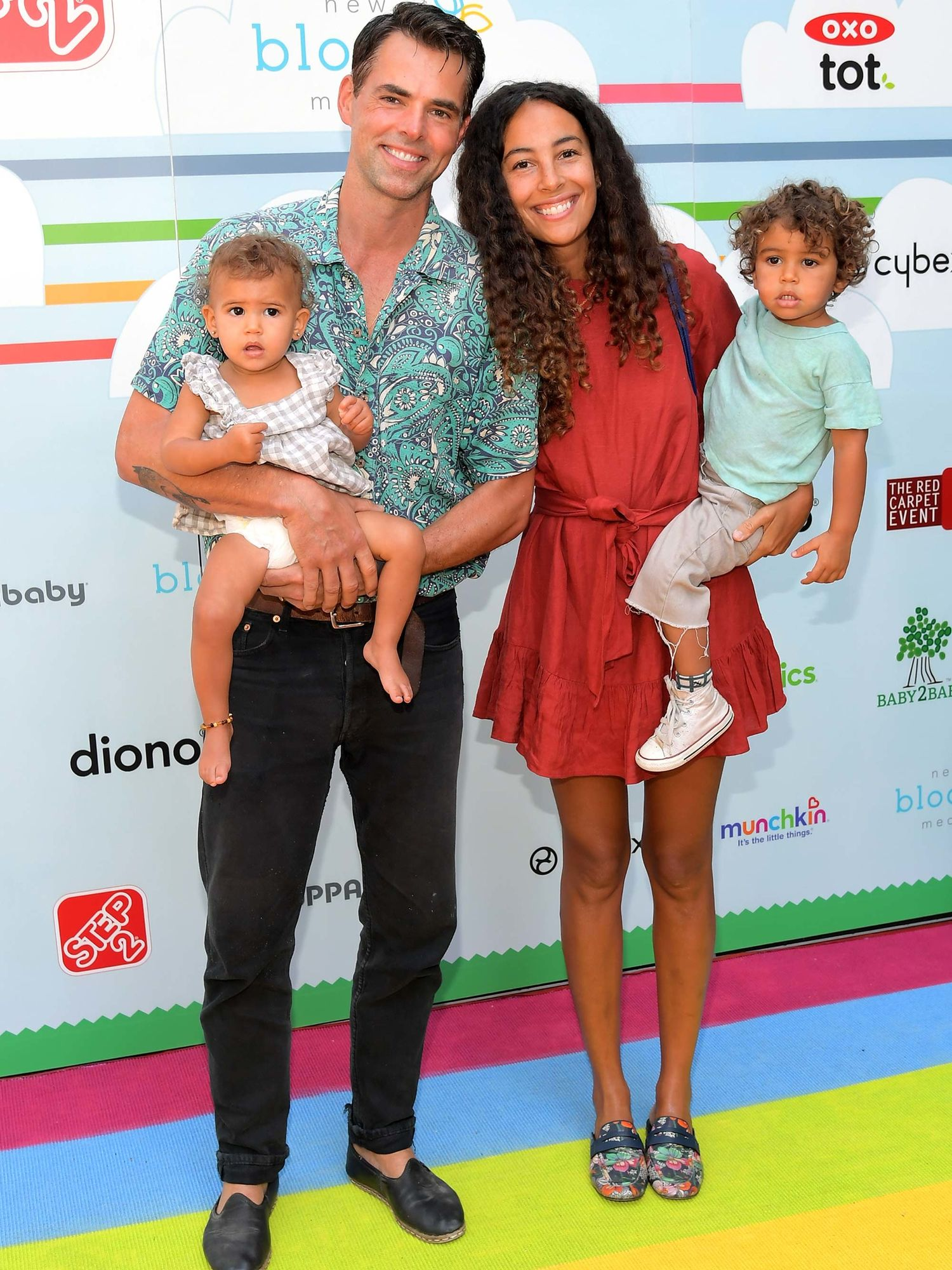 Jason Thompson, wife Paloma Jonas, daughter Rome Coco and son Bowie Banjo attend a charity event.