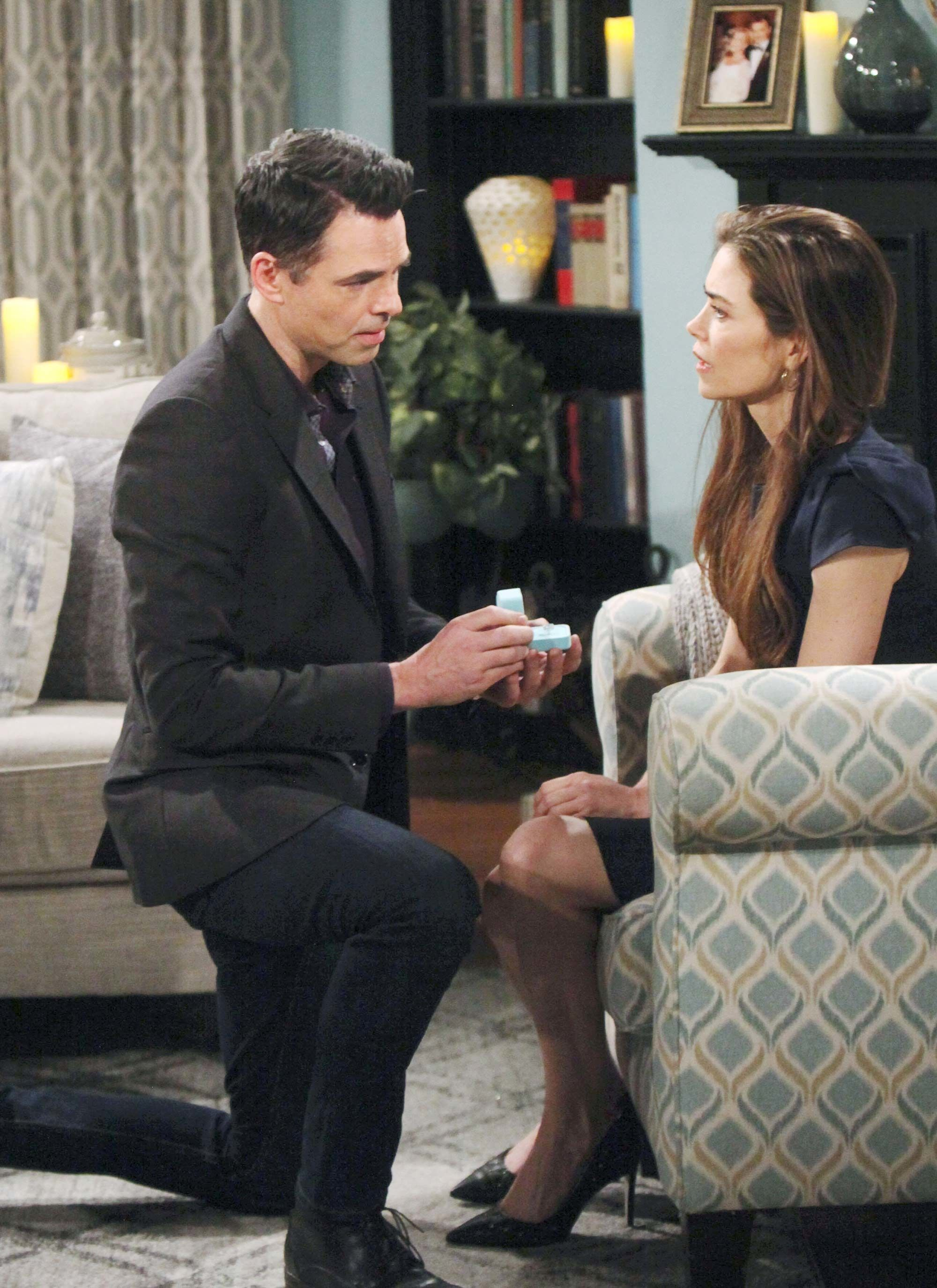 Jason Thompson and Amelia Heinle in The Young and the Restless.