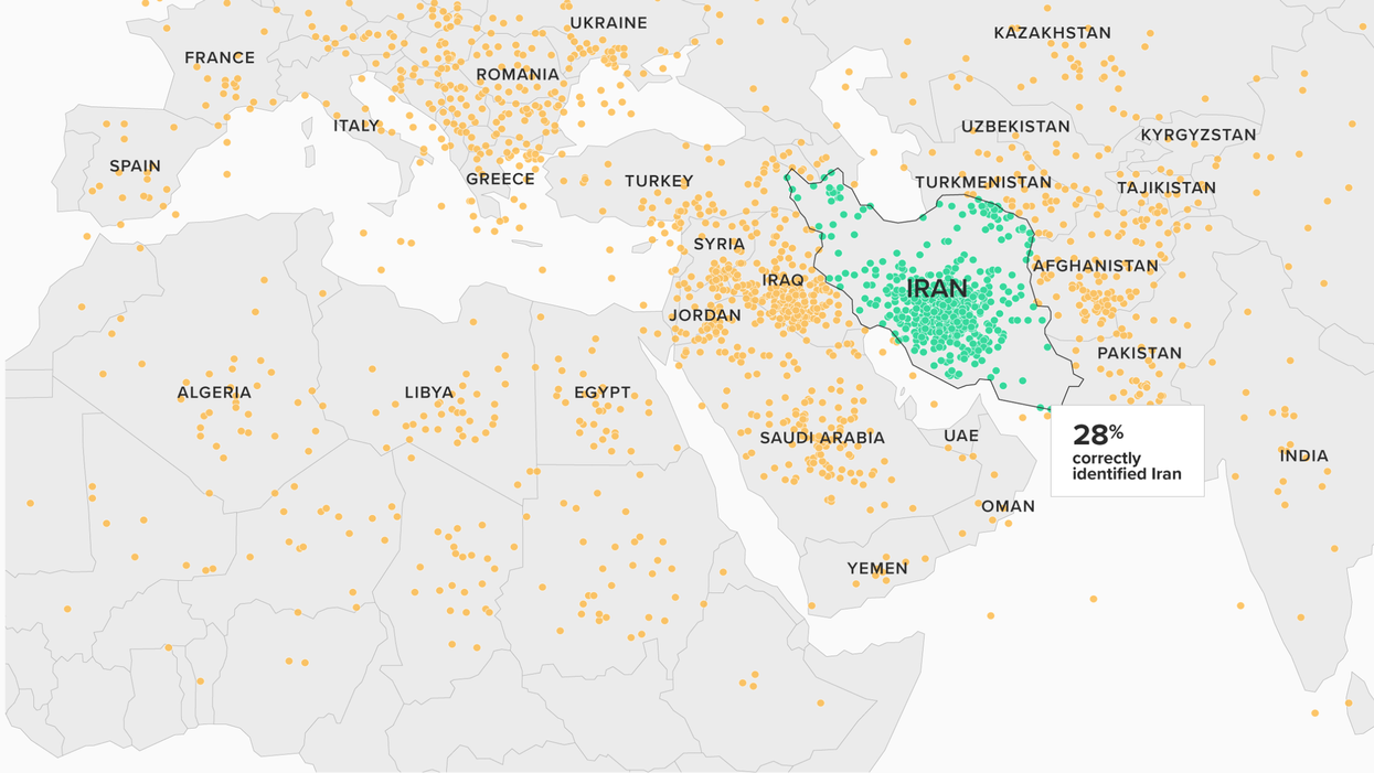A recent Morning Consult/Politico survey found that fewer than 3 in 10 registered voters were able to identify the Islamic Republic of Iran on an unlabeled world map.