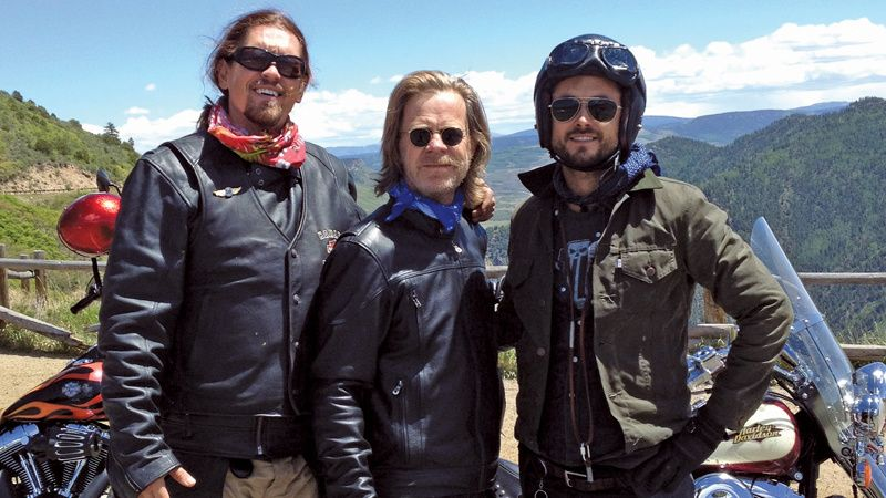 Steve Howey, William H. Macy, and Justin Chatwin on a motorcycle trip.