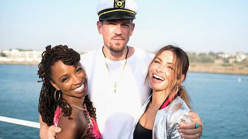 Shanola Hampton, Steve Howey, and Sarah Shahi on a boat.