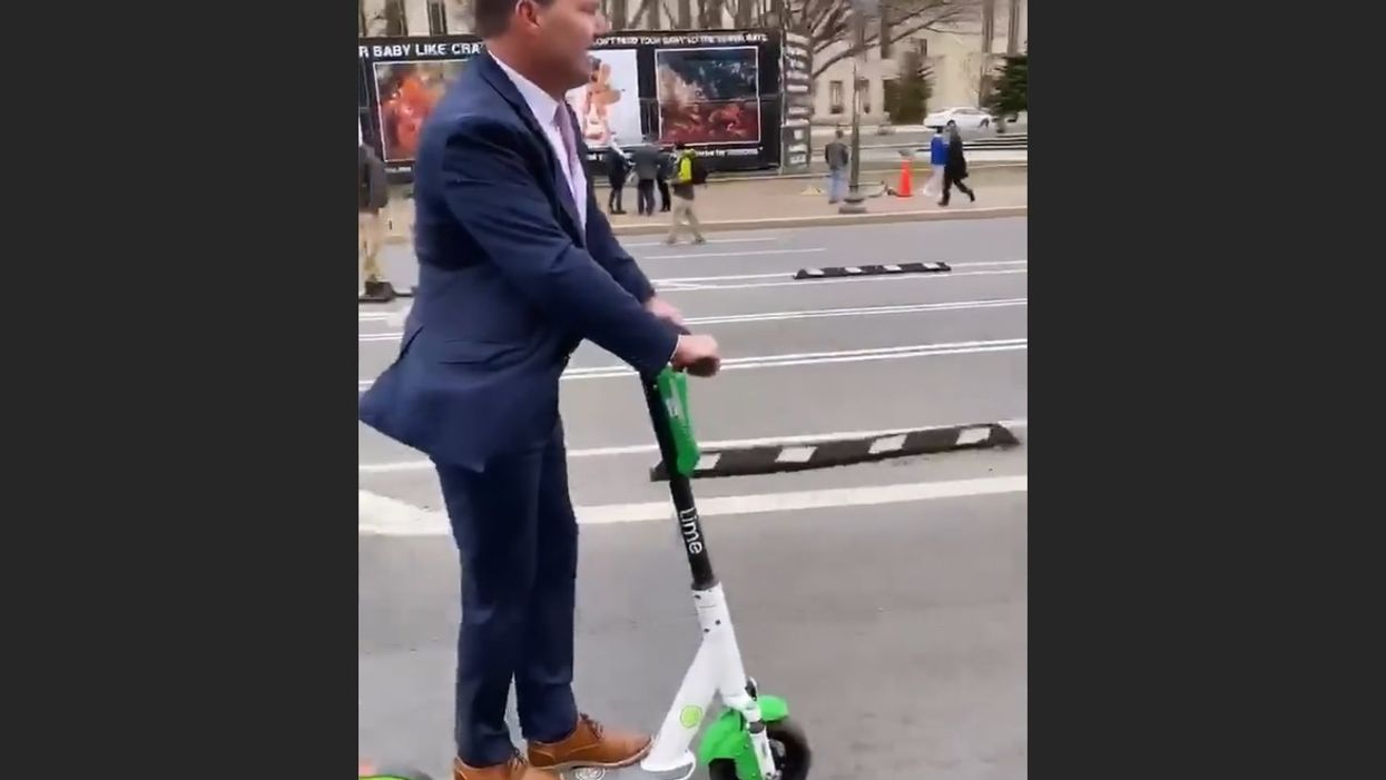 Watch: Sen. Mike Lee scooters from March for Life to 'jury duty' and gives a surprise interview along the way