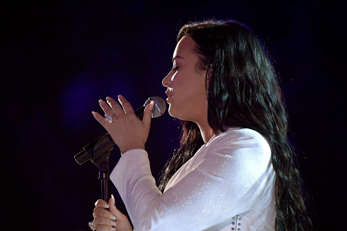 Demi Lovato Gets Emotional Debuting 'Anyone' at the Grammys