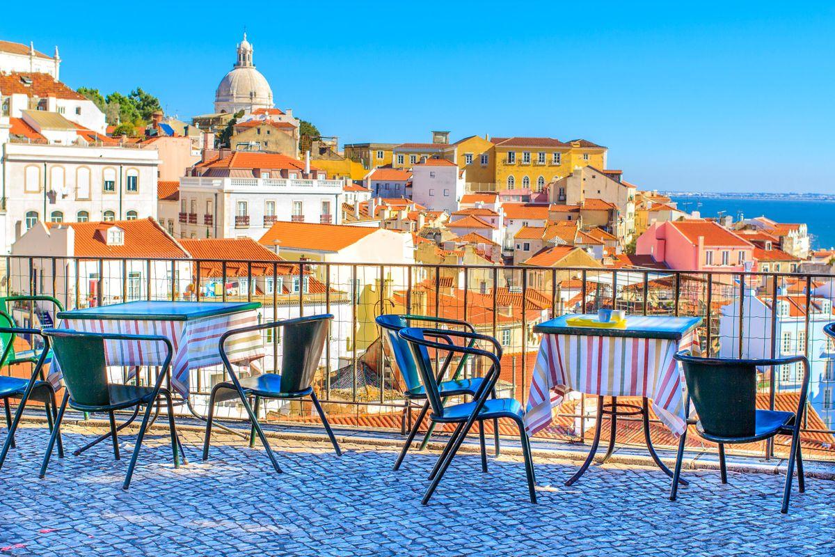 Outdoor cafe terrace in Lisbon.