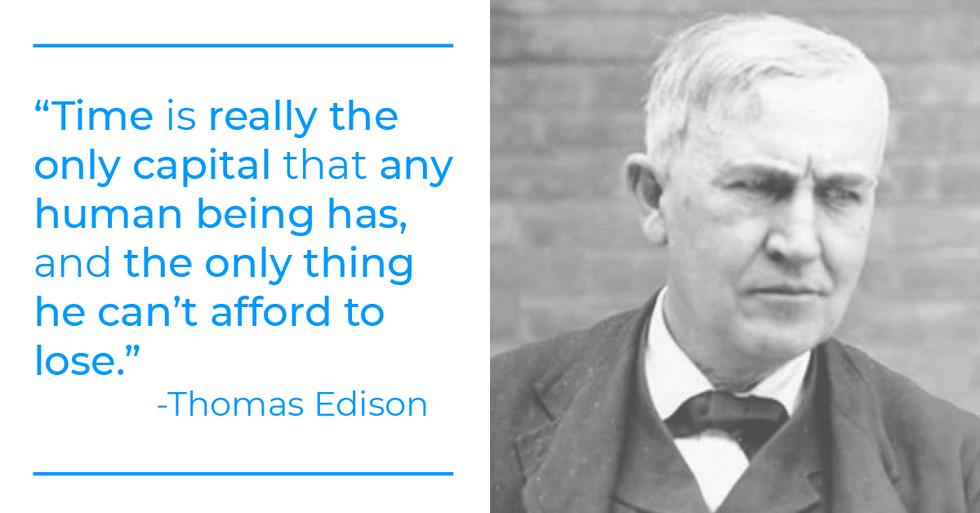 Thomas Edison quote about time and work-life balance