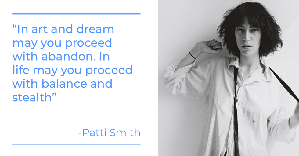 Patti Smith quote about art and work-life balance
