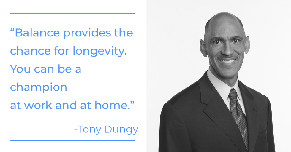 Tony Dungy quote about football, being a champion, and work-life balance