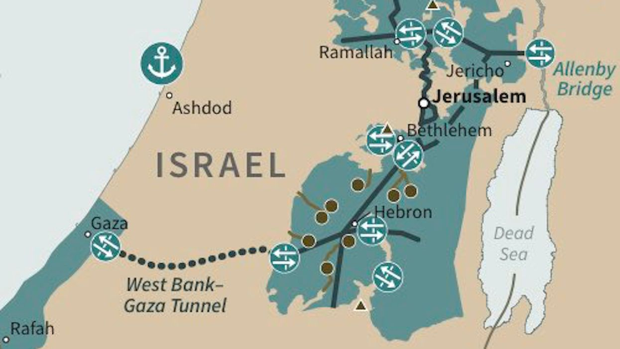 Detail of the conceptual map for a Palestinian state, proposed by U.S. president Donald Trump.