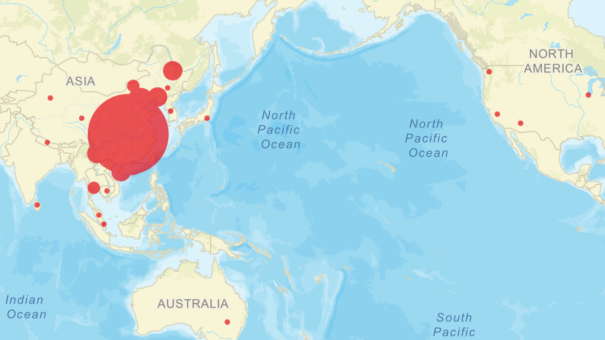 Global visualization of reported Wuhan coronavirus cases