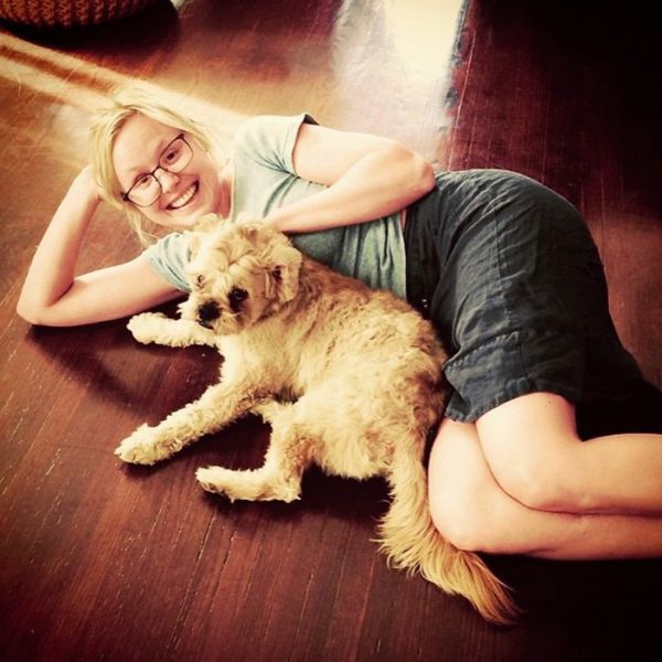 Alison Pill with her dog
