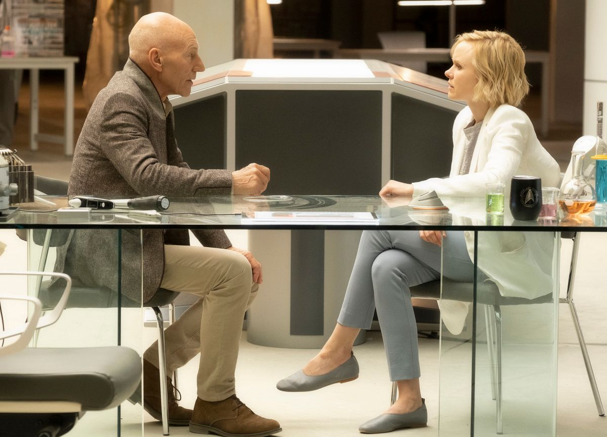 Sir Patrick Stewart and Alison Pill on the set of Star Trek Picard.