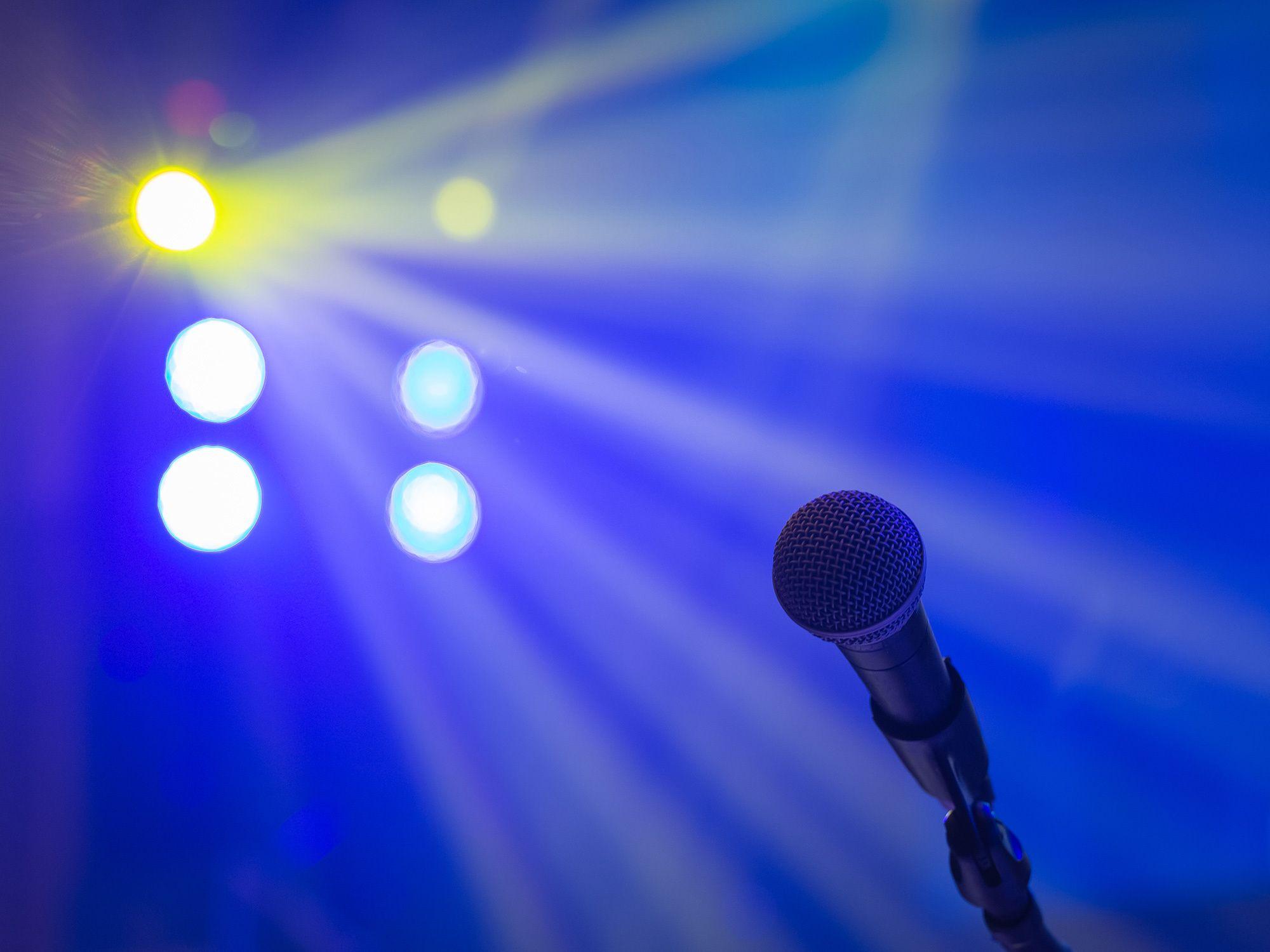 Karaoke microphone and stage lights.