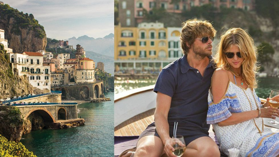 The Shoreline of the Amalfir Coast in Italy and Eric Christian Olsen and his wife Sarah Wright Olsen.\u200b